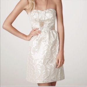 Silver and Cream Strapless Dress